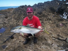 WSAC shore fisho Cliff Deighton with a 10kg Northland Kingfish caught whilst livebaiting off the rocks in April